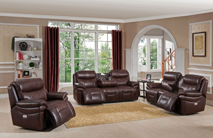 Summerlands II Brown Headrest Power Reclining Living Room Set