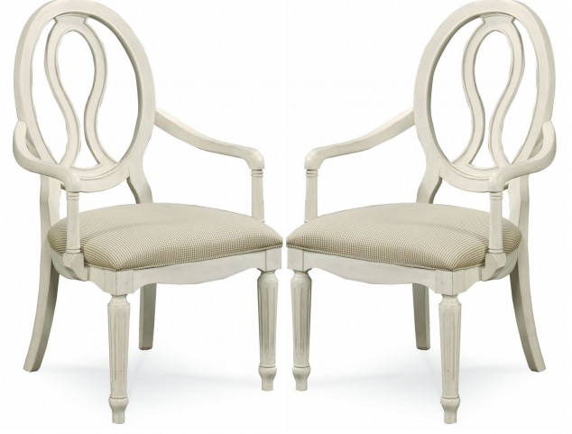 Summer Hill Cotton Pierced Back Arm Chair Set of 2