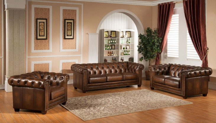 Stanley Park II Brown Leather Living Room Set