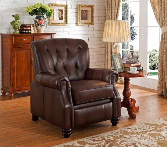 Covington Brown Leather Recliner Chair