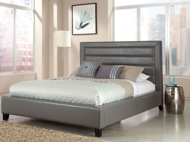 Reaction Grey Queen Upholstered Bed