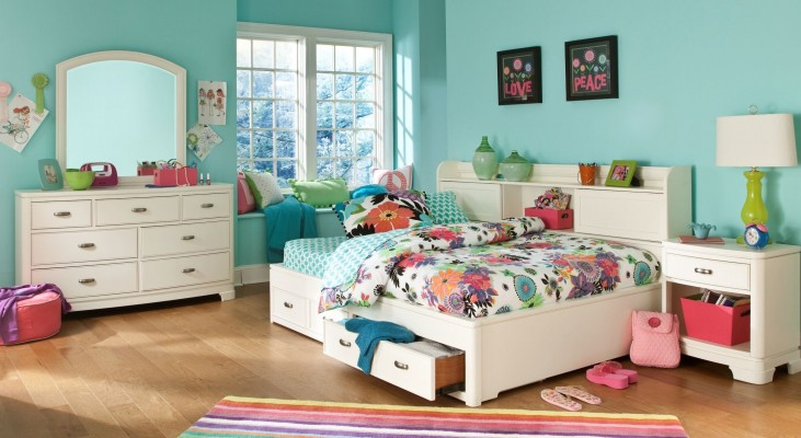 Park City White Bookcase Storage Lounge Bedroom Set