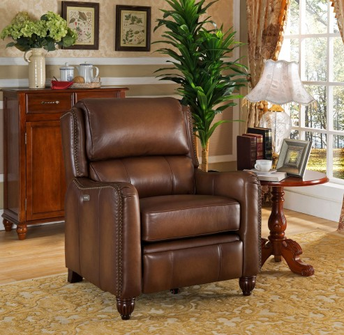Concord Brown Leather Power Recliner