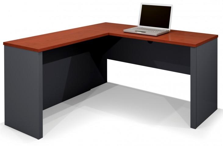 Prestige Plus L-Shaped Workstation In Bordeaux & Graphite