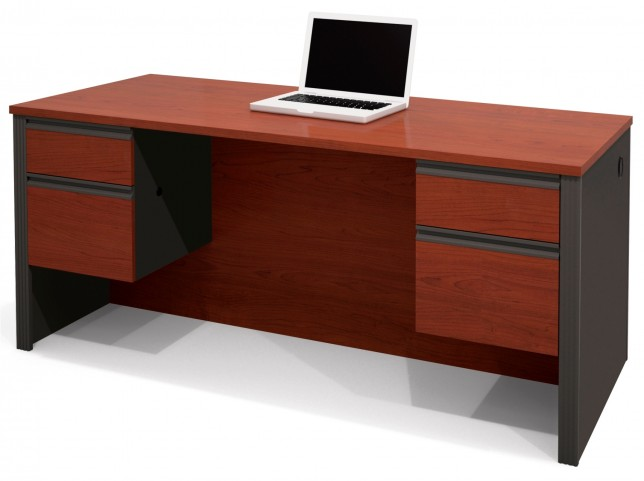 Prestige Plus Executive Desk W/ Dual Half Peds In Bordeaux & Graphite