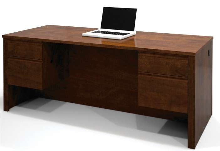 Prestige Plus Executive Desk With Dual Half Peds In Chocolate