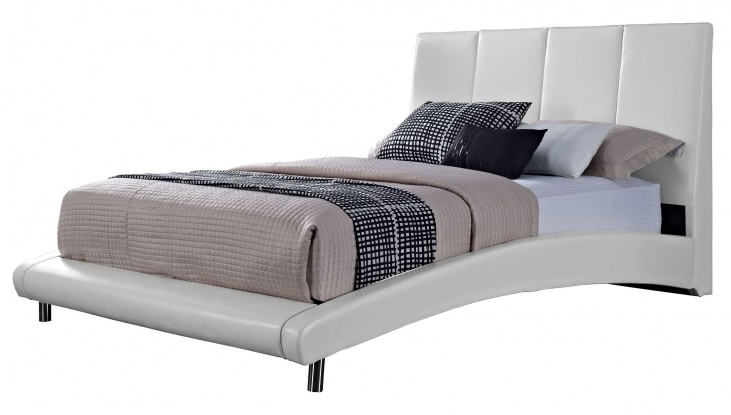 Moderno White Queen Upholstered Bed