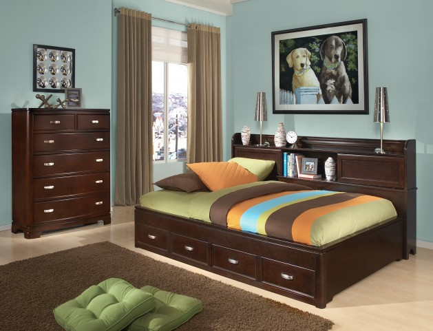 Park City Merlot Bookcase Storage Lounge Bedroom Set