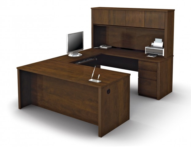 Prestige Plus U-Shaped Workstation Kit In Chocolate With 3 drawer