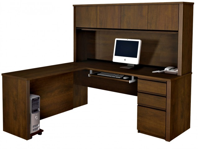 Prestige Plus L-Shaped Workstation Kit In Chocolate