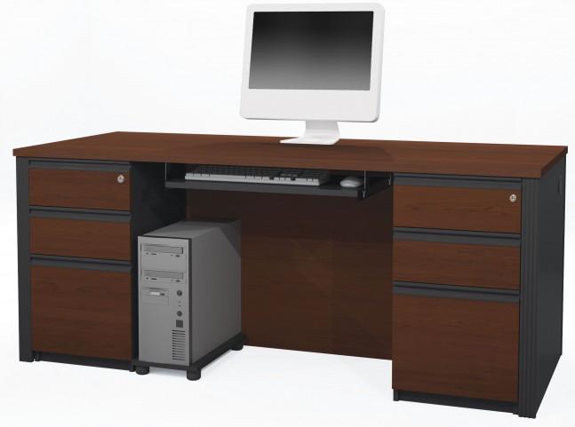 Prestige Plus Bordeaux & Graphite Executive Desk with Two Pedestals
