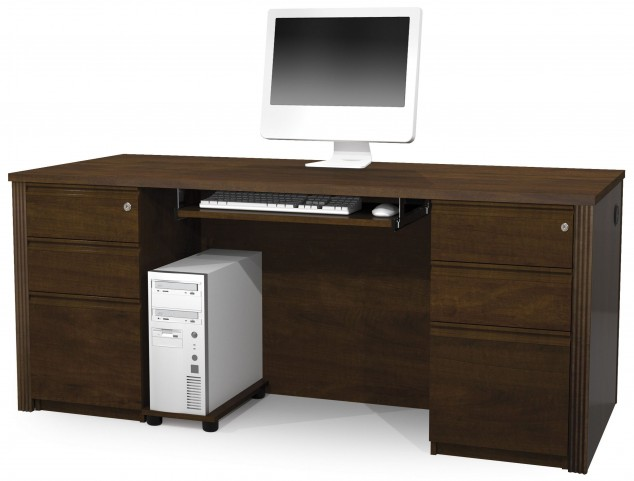 Prestige Plus Chocolate Executive Desk with Two Pedestals
