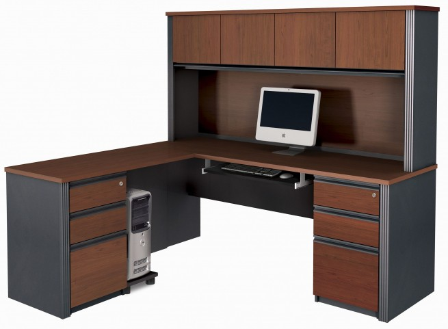 Prestige Plus Bordeaux & Graphite L-Shaped Workstation with Hutch and Two Pedestals