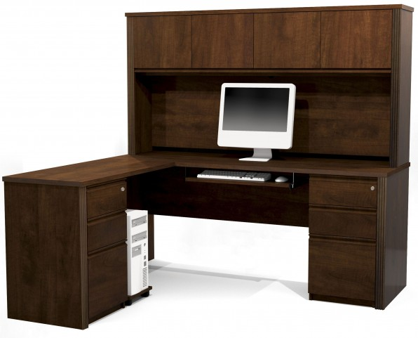 Prestige Plus Chocolate L-Shaped Workstation with Hutch and Two Pedestals