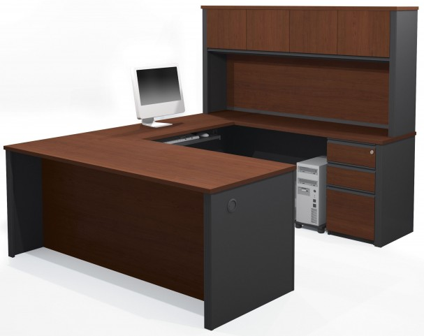 Prestige Plus Bordeaux & Graphite U-Shaped Workstation with Hutch