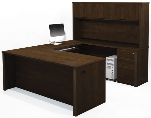Prestige Plus Chocolate U-Shaped Workstation with Hutch