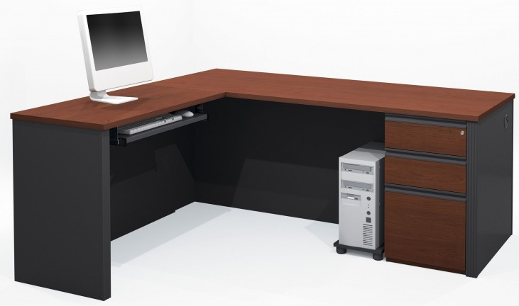Prestige Plus Bordeaux & Graphite L-Shaped Workstation