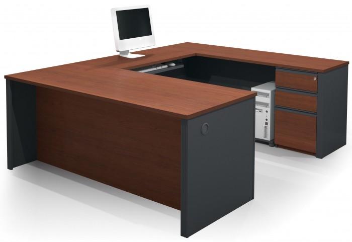 Prestige Plus Bordeaux & Graphite U-Shaped Workstation