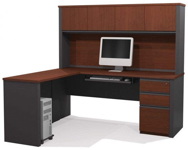 Prestige Plus Bordeaux & Graphite L-Shaped Workstation with Hutch and One Pedestal
