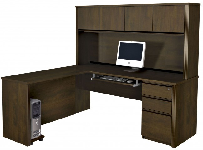 Prestige Plus Chocolate L-Shaped Workstation with Hutch and One Pedestal