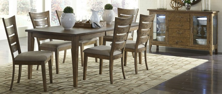 Pebble Creek I Weathered Butterscotch Rectangular Leg Extendable Dining Room Set