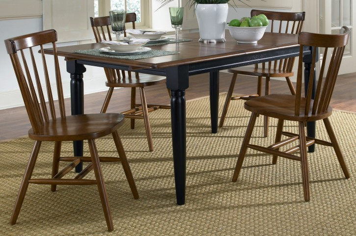 Creations II Black & Tobacco Butterfly Leaf Extendable Dining Room Set