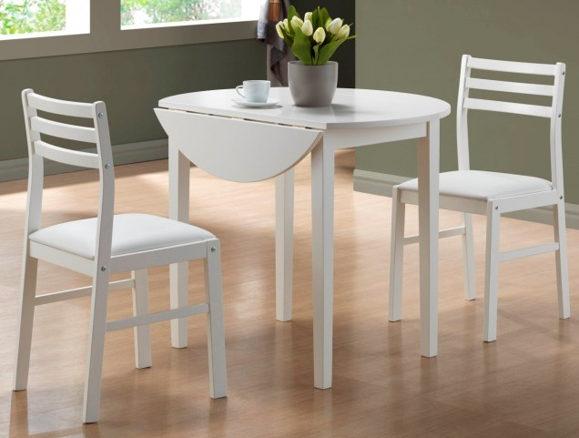1008 White 3Pcs Drop Leaf Dining Set