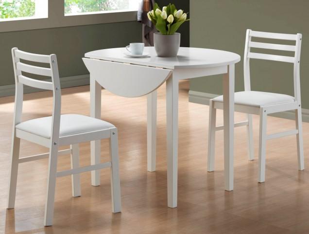 1008 White 3Pcs Drop Leaf Extendable Dining Set
