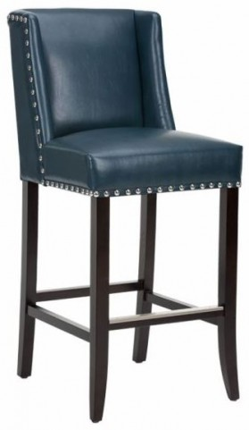Marlin Blue Leather Barstool