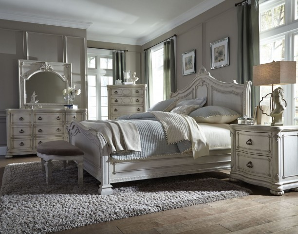 Davenport Weathered Parchment Sleigh Bedroom Set
