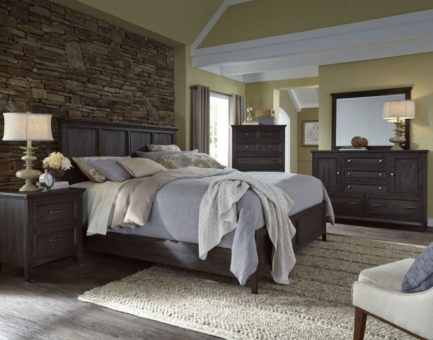 Mill River Weathered Charcoal Panel Bedroom Set