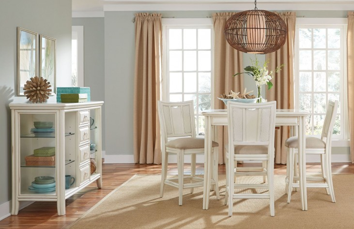 Siesta Sands White Sand Gathering Extendable Dining Room Set
