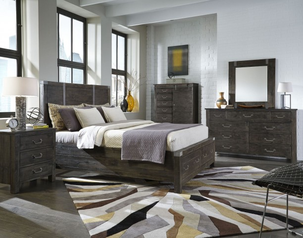 Abington Weathered Charcoal Panel Bedroom Set