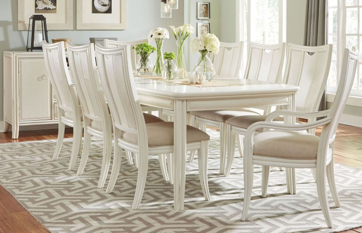 Siesta Sands White Sand Leg Extendable Dining Room Set