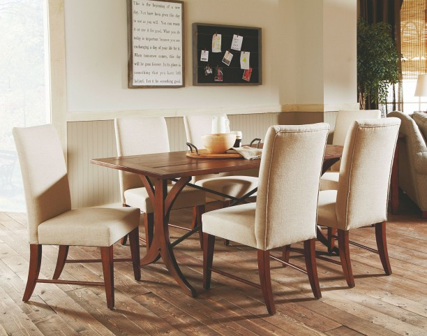 """Homecoming Vintage Cherry New River 72"""" Dining Room Set"""