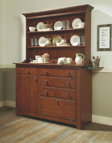 Homecoming Vintage Cherry Carvers Buffet with Hutch