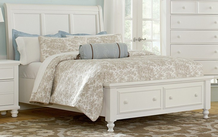 Ellington White Queen Sleigh Storage Bed