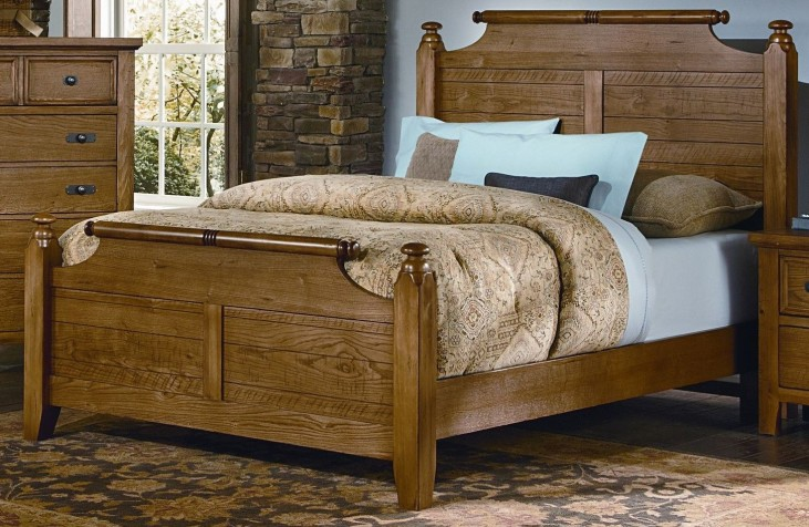 Timber Mill Oak King Broomhandle Bed