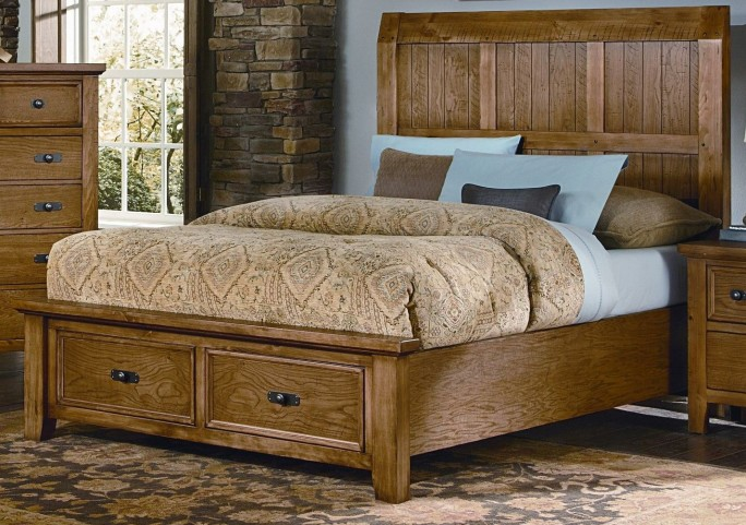 Timber Mill Oak Queen Timber Storage Bed