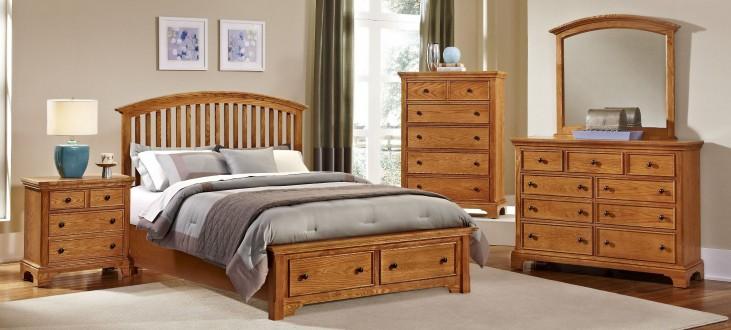 Forsyth Medium Oak Arched Storage Bedroom Set