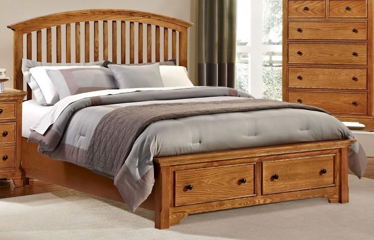 Forsyth Medium Oak Queen Arched Storage Bed