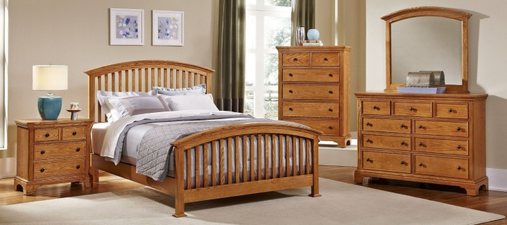 Forsyth Medium Oak Arched Bedroom Set