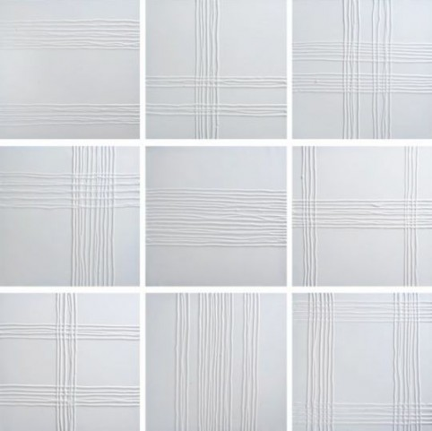 White Collage Canvas Wall Art