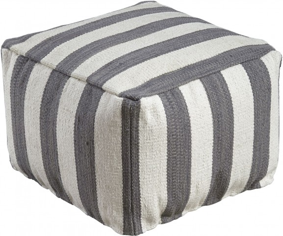 Bane White and Gray Pouf
