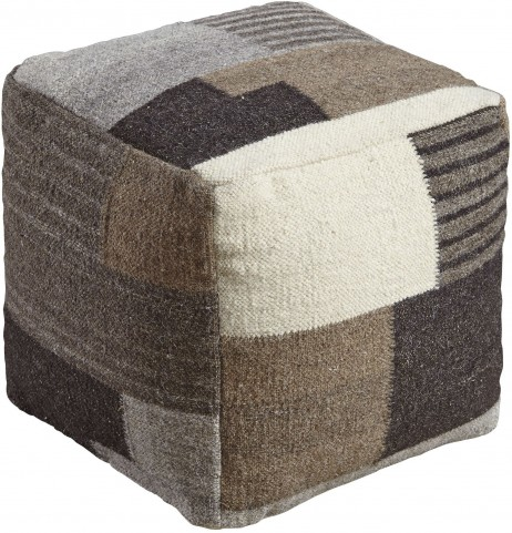 Calbert Black and Brown and Cream Pouf