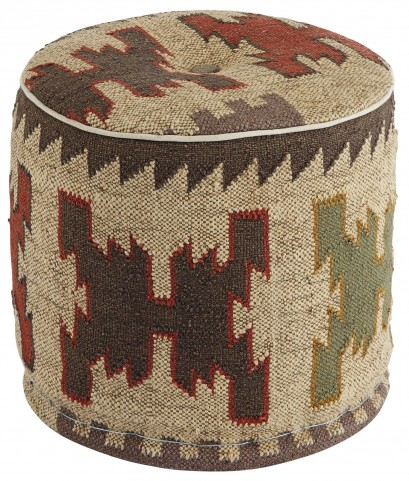 Patterned Natural Pouf