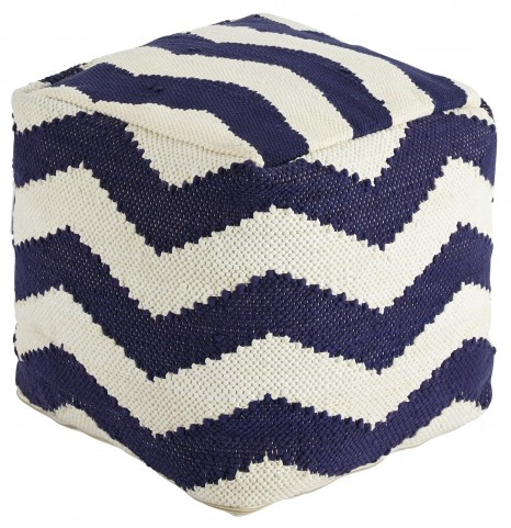 Chevron Hand Made Blue Pouf