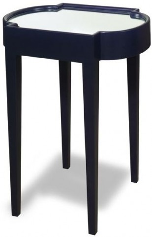 Suri Blue Mirrored Top Chairside Table