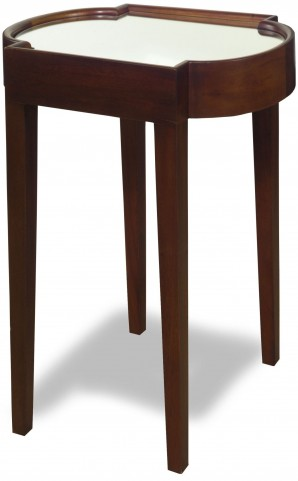 Suri Chocolate Mirrored Top Chairside Table