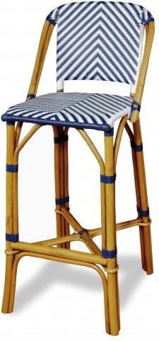 Rum Point Navy Rattan Bar Stool